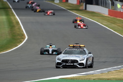 Safety car leads the field