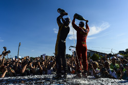 Jean-Eric Vergne, Techeetah, and Lucas di Grassi, ABT Schaeffler Audi Sport, celebrates on the podium