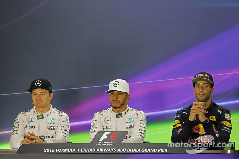 Pressekonferenz: Polesitter Lewis Hamilton, Mercedes AMG F1; 2. Nico Rosberg, Mercedes AMG F1; 3. Daniel Ricciardo, Red Bull Racing