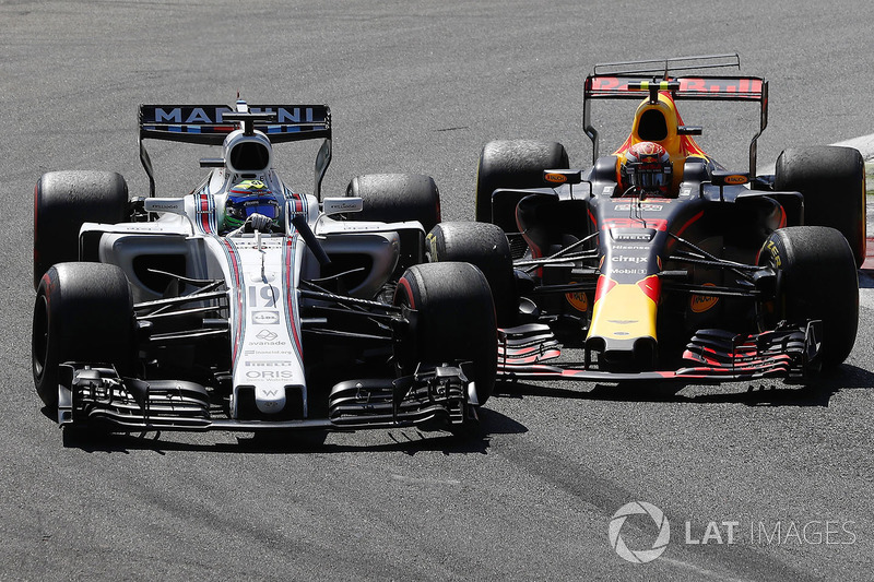 Felipe Massa, Williams FW40, Max Verstappen, Red Bull Racing RB13, battle for position