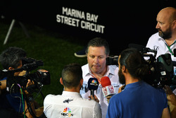 Zak Brown, McLaren Executive Director talks to the media