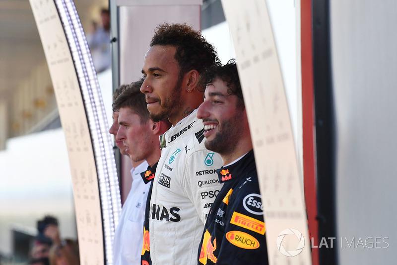 Max Verstappen, Red Bull Racing, Lewis Hamilton, Mercedes AMG F1 e Daniel Ricciardo, Red Bull Racing  festeggiano sul podio