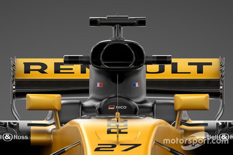 De airbox op de Renault RS17 oogt breed