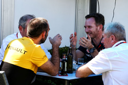 Christian Horner, Red Bull Racing Team Principal with Dr Helmut Marko, Red Bull Motorsport Consultant; Jerome Stoll, Renault Sport F1 President; and Cyril Abiteboul, Renault Sport F1 Managing Director