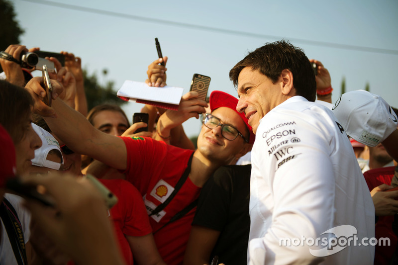 Toto Wolff, Mercedes AMG F1 Shareholder and Executive Director with fans