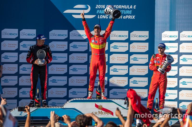 Podio: ganador Lucas di Grassi, ABT Schaeffler Audi Sport, segundo lugar Stéphane Sarrazin, Venturi, tercer lugar Daniel Abt, ABT Schaeffler Audi Sport