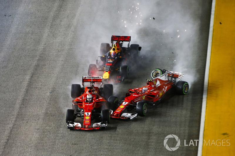 6. Kimi Räikkönen, Sebastian Vettel und Max Verstappen kollidieren