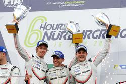 LMP1 Podium: race winners Timo Bernhard, Earl Bamber, Brendon Hartley, Porsche Team
