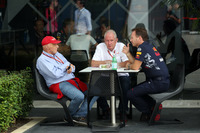 Niki Lauda, Mercedes AMG F1 Non-Executive Chairman, Christian Horner, Red Bull Racing Team Principal and Dr. Helmut Marko, Red Bull Racing Motorsport Consultant