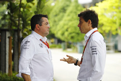 Eric Boullier, Racing Director, McLaren, talks, Toto Wolff, Executive Director Mercedes AMG F1