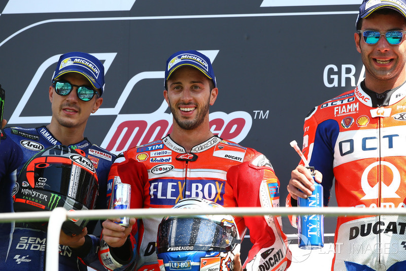 Podium: second place Maverick Viñales, Yamaha Factory Racing, Race winner Andrea Dovizioso, Ducati Team, third place Danilo Petrucci, Pramac Racing