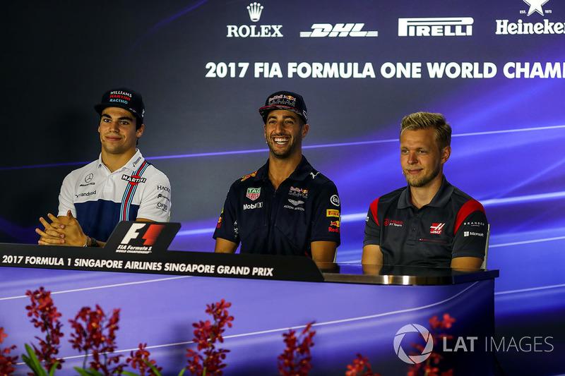 Pressekonferenz: Lance Stroll, Williams, Daniel Ricciardo, Red Bull Racing und Kevin Magnussen, Haas