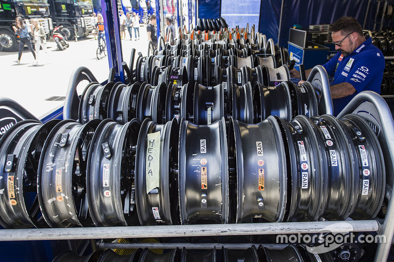 Wheels awaiting the fiting of Michelin tyres