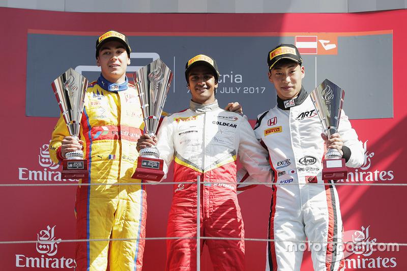 Podium : le vainqueur Raoul Hyman, Campos Racing, le deuxième Giuliano Alesi, Trident, le troisième Nirei Fukuzumi, ART Grand Prix