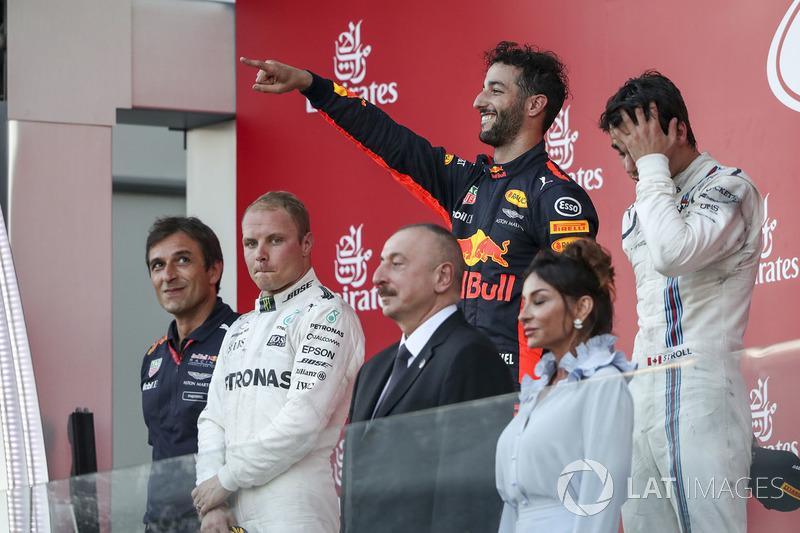 Pierre Wache, Red Bull Racing, Valtteri Bottas, Mercedes AMG F1, Daniel Ricciardo, Red Bull Racing, Lance Stroll, Williams