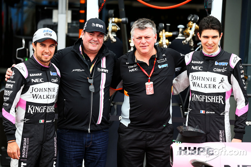 Sergio Perez, Sahara Force India F1; Lutz Hübner, BWT; Otmar Szafnauer; Esteban Ocon, Sahara Force India F1