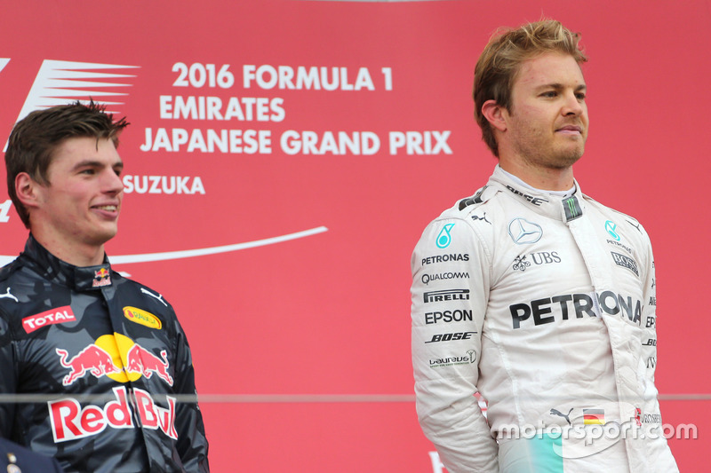 Nico Rosberg, Mercedes AMG F1 Team and Max Verstappen, Red Bull Racing