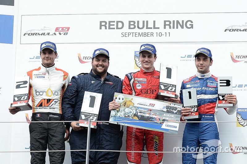 Podium: race winner Aurelien Panis, Arden Motorsport, second place Tom Dillmann, AVF, third place Matevos Isaakyan, SMP Racing