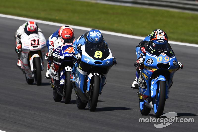 Jorge Navarro, Estrella Galicia 0,0, Honda; Nicolo Bulega, SKY Racing Team VR46, KTM; Fabio Di Giannantonio, Gresini Racing Moto3, Honda