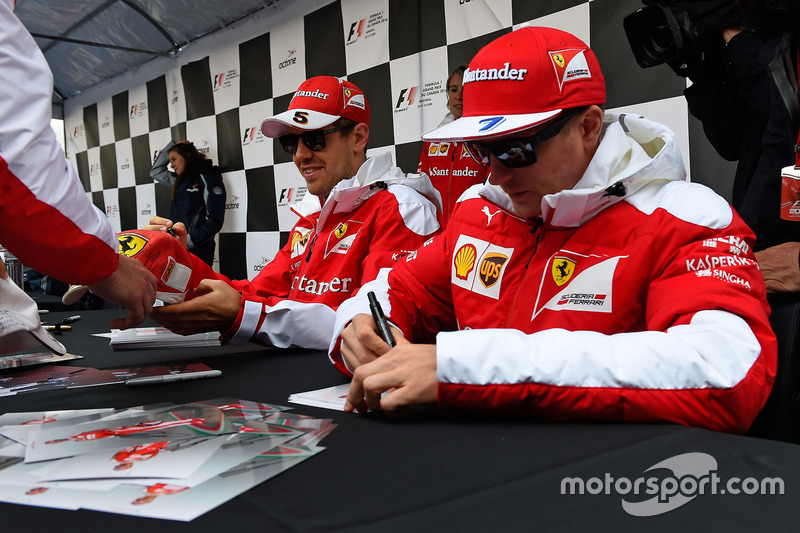 Sebastian Vettel, Ferrari, Kimi Raikkonen, Ferrari signs autographs for the fans