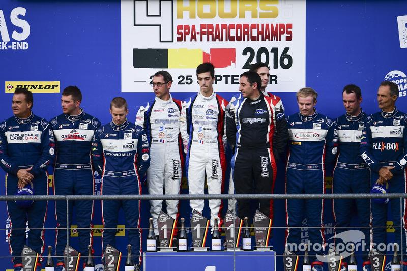 LMP3-Podium: Sieger #9 Graff Racing, Ligier JS P3 - Nissan: Eric Trouillet, Paul Petit, Enzo Guibbert; 2. #2 United Autosports, Ligier JSP3 - Nissan: Alex Brundle, Mike Guasch, Christian England; 3. #3 United Autosports, Ligier JSP3 - Nissan: Matt Bell, Mark Patterson, Wayne Boyd