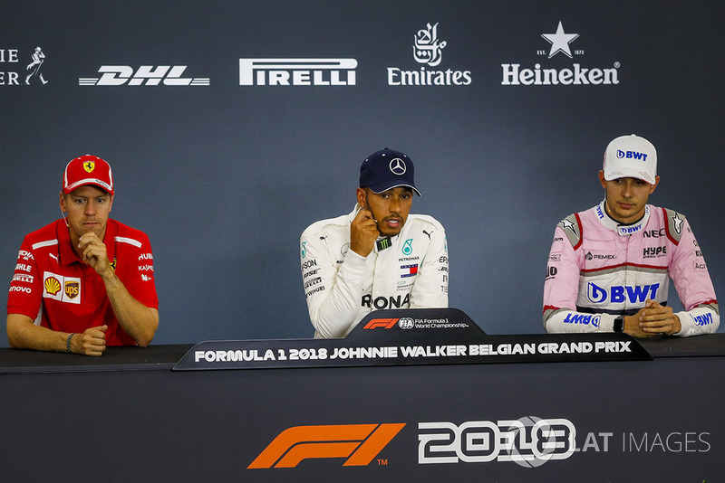 Sebastian Vettel, Ferrari, Lewis Hamilton, Mercedes AMG F1 and Esteban Ocon, Racing Point Force India F1 Team, en conférence de presse