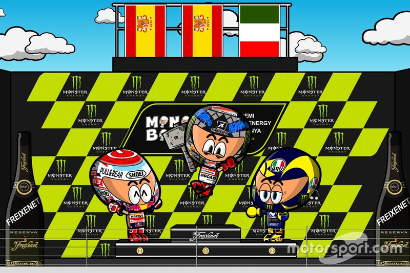 El podio del GP de Catalunya de MotoGP 2018, por MiniBikers