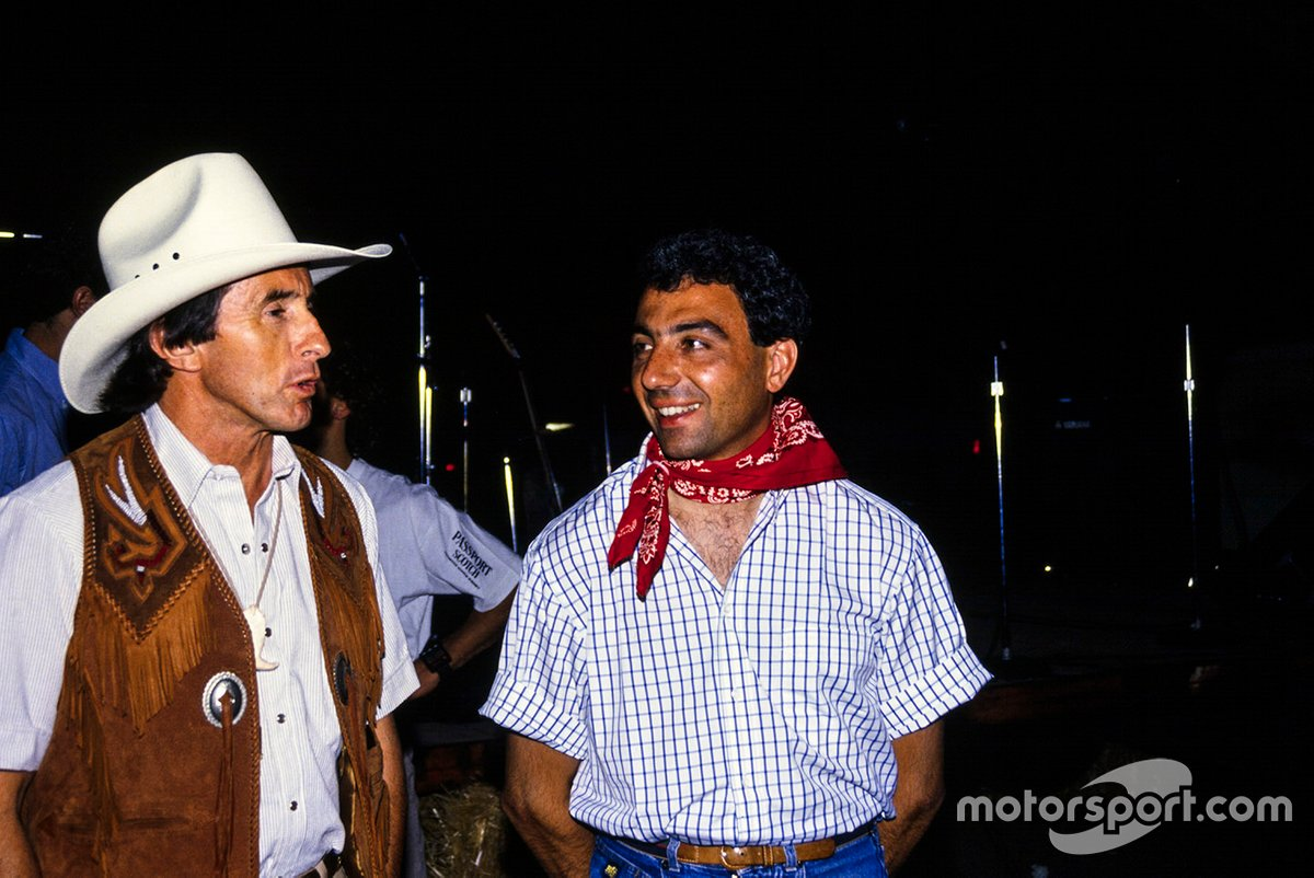 Sir Jackie Stewart and Alboreto – the Tyrrell team's first F1 winner and final F1 winner. We'll assume they're attempting to look inconspicuous while mingling with the natives, since this was taken in Phoenix in '89.