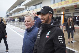 Lewis Hamilton, Mercedes AMG F1, and former diver Johnny Herbert.