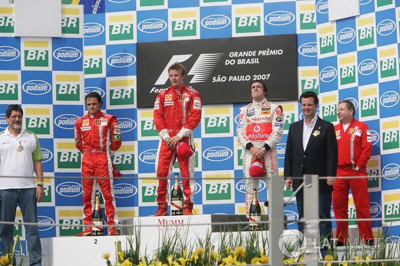 Podium: second place Felipe Massa, Ferrari, Race winner Kimi Raikkonen, Ferrari, third place Fernando Alonso, McLaren, Jean Todt, Chief Executive, Ferrari