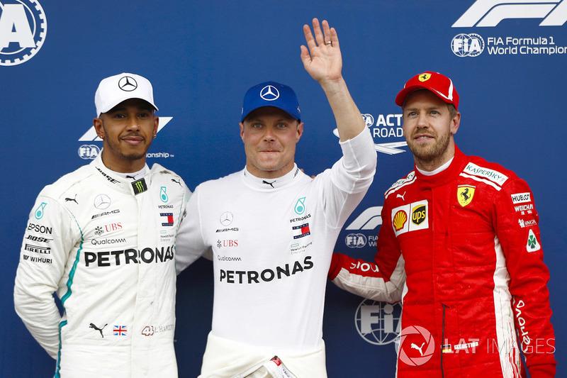 Tiga besar kualifikasi F1 GP Austria: 1. Valtteri Bottas, 2. Lewis Hamilton, 3. Sebastian Vettel