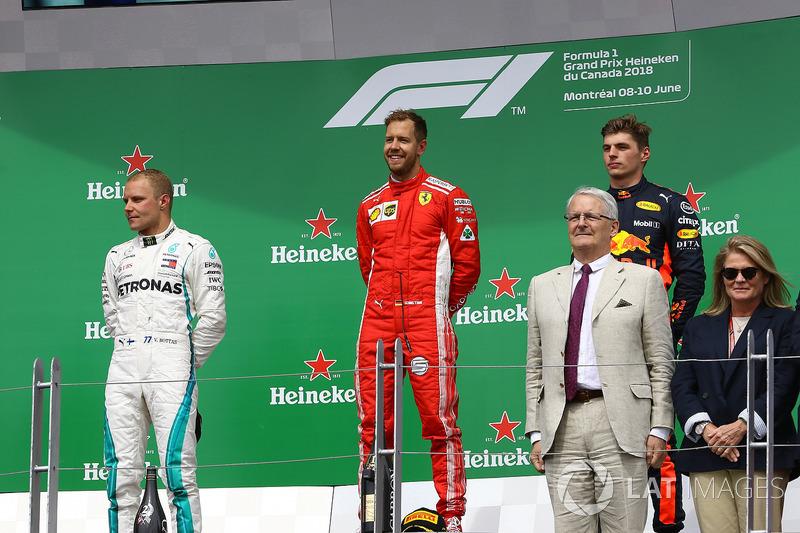 Valtteri Bottas, Mercedes-AMG F1, Sebastian Vettel, Ferrari e Max Verstappen, Red Bull Racing, sul podio
