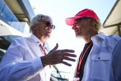 Bernie Ecclestone, Chairman Emeritus of Formula 1, with former champion Jacques Villeneuve