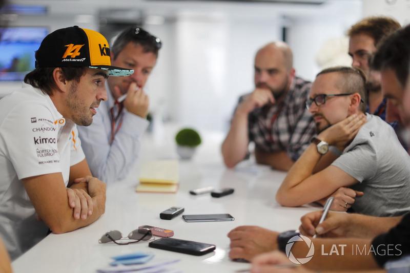 Fernando Alonso, McLaren, holds a press conference