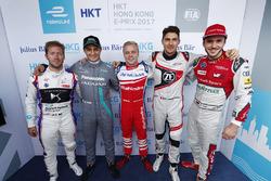 Pilotos de la Super Pole Sam Bird, DS Virgin Racing, Mitch Evans, Jaguar Racing, Felix Rosenqvist, Mahindra Racing, Edoardo Mortara, Venturi Formula E, Daniel Abt, Audi Sport ABT Schaeffler
