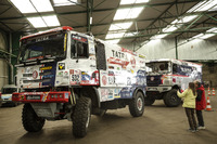 A Tatra truck is prepared in Le Havre for the long trip to Lima, Peru