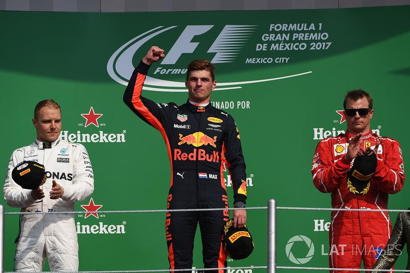 Переможець Макс Ферстаппен, Red Bull Racing, Валттері Боттас, Mercedes AMG F1, Кімі Райкконен, Ferrari