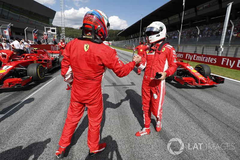2. Kimi Raikkonen, Ferrari, 3. Sebastian Vettel, Ferrari