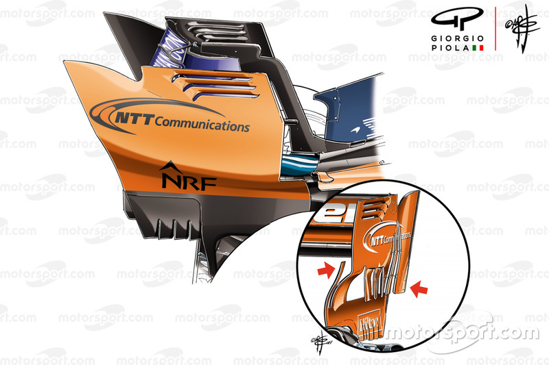 McLaren MCL33 vs MCL32 rear wing endplates