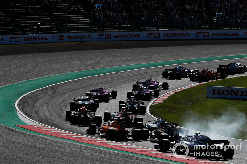 Fernando Alonso, McLaren MCL33, Nico Hulkenberg, Renault Sport F1 Team R.S. 18, et Lance Stroll, Williams FW41