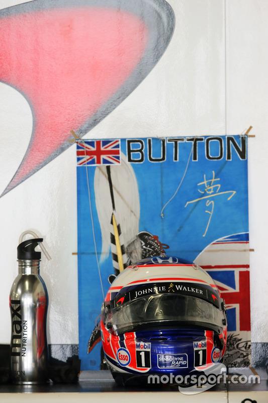 The helmet of Jenson Button, McLaren