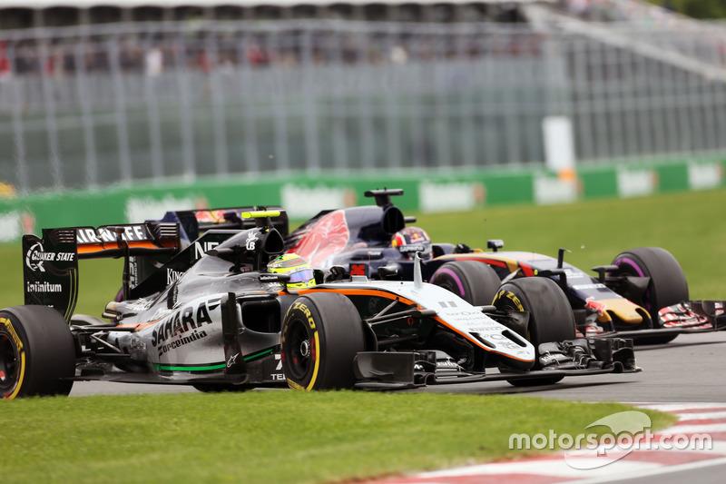 Серхіо Перес, Sahara Force India F1 VJM09 та Данііл Квят, Scuderia Toro Rosso STR11 боротьба за пози