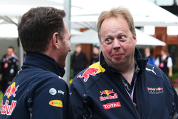 Christian Horner, Red Bull Racing teambaas met Andy Palmer, Aston Martin CEO