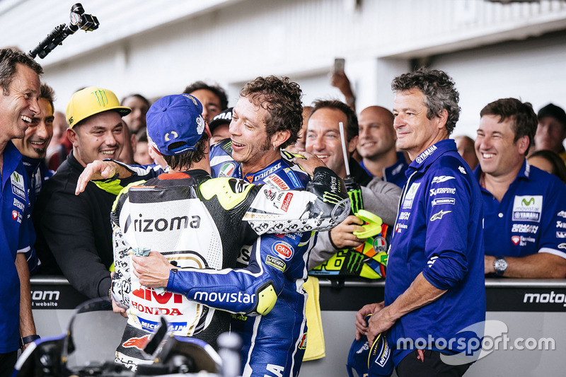 Third place Valentino Rossi, Yamaha Factory Racing, second place Cal Crutchlow, Team LCR Honda in parc ferme