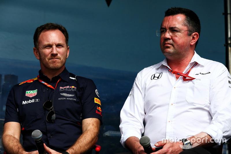 Christian Horner, Red Bull Racing; Eric Boullier, McLaren
