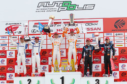 GT500 podium: winners #36 Team Tom's Lexus LC500: Kazuki Nakajima, James Rossiter, second place #17 Keihin Real Racing Honda NSX Concept-GT: Koudai Tsukakoshi, Takashi Kogure, third place #100 Team Kunimitsu Honda NSX Concept GT: Naoki Yamamoto, Takuya Izawa