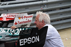 Charlie Whiting, FIA Delegate looks at the Mercedes-Benz F1 W08  rear wing in parc ferme