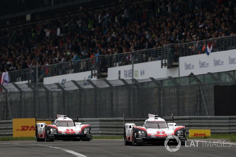 #2 Porsche Team Porsche 919 Hybrid: Тімо Бернхард, Ерл Бамбер, Брендон Хартлі #1 Porsche Team Porsche 919 Hybrid: Ніл Яні, Андре Лоттерер, Нік Тенді