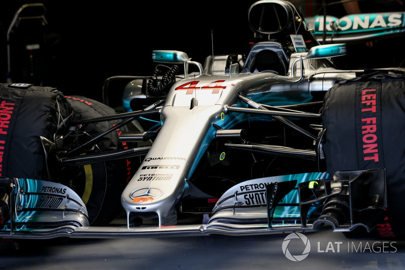 The car of Lewis Hamilton, Mercedes-Benz F1 W08  in the garage