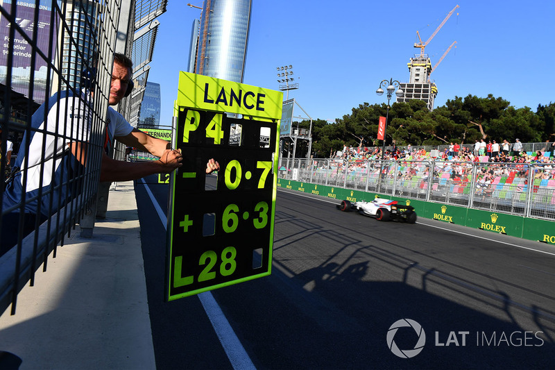 Boxentafel für Lance Stroll, Williams FW40